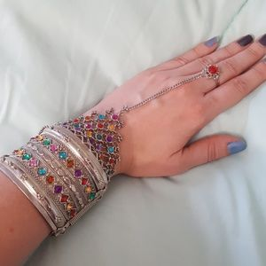 Jewelry - Middle Eastern Style Jeweled Cuff Bracelet & Ring
